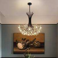 Lustre moderno cristal dente-de-leão candelabro iluminação lâmpada pingente para sala de jantar sala de suspensão em casa decoração LED quarto