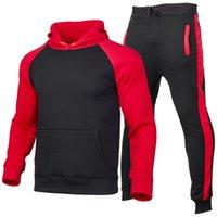 Erkekler spor eşofmanlar renk eşleştirme takım elbise erkek giyim hoodie + pantolon seti artı boyutu erkek