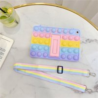 Fidget Rainbow Soft Silicone Case for Apple iPad Pro Air Mini Series Push Bubble Lightweight Shockproof Cover Strap
