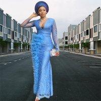 ASO EBI 아랍 스타일 플러스 사이즈 이브닝 드레스 2022 섹시한 V 목 전체 푸른 레이스 깎아 지른 긴 소매 공식 무위 파티 두 번째 리셉션 가운