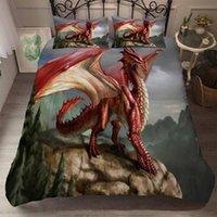 Bedding Sets Red Pterosaur Mountain Duvet Cover Set Cartoon Pillowcase Quilt Twin Full Queen King Kids Bedclothes