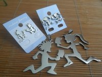 (WOMEN + MEN ) ICP Juggalo Stainless Steel Large Hatchetman Earring Studs Necklace Pendant 30'' Chain Jewelry Set Silver