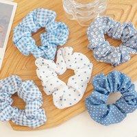 Mavi serisi saç bağları toplu elastics kafa bantları ekose halat kızlar için 211078