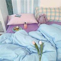 Shainted хлопковая спальня из четырех частей девушка сердца крем простой смесь и матч небольшой свежий чехол одеяла трехсекционные постельные принадлежности 210727