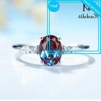 Kuololit 1.7ct lab crescido alexandrite gemstone mulheres 925 esterlina prata oval 6x8 anel de luxo para aniversário de noivado