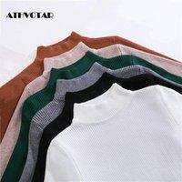Frauenpullover Athvotar Pullover Herbst Half-Rollkragen-Pullovers Langarm Slim-Fit Tight Stricking für Frauen