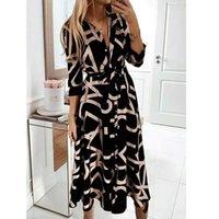 Women's Shirt V-neck Casual Dresses Print Long Sleeve Lace-up Dress