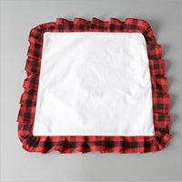 Sublimation Blank Pillow Case Red Black Plaid Linen Cushion Covers with Ruffles Simple Home Supplies