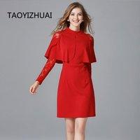 Повседневные платья Taoyizhuai осень винтаж стиль кружева платье платье красный и черный цвет большой размер над коленом полные рукава элегантная вечеринка 16052