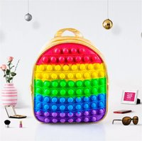 2021 Toy Backpack Rainbow Tie Dye Sensory Push Pop Bubbles Bag Purses Kids Adult Shoulder Bags Silicone Handbag