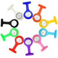 Nuevo clip de color sólido en analógico digital lindo silicón de silicona de alta calidad reloj de alta calidad broche fob bolsillo túnica de cuarzo movimiento reloj de reloj