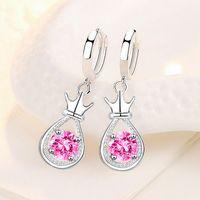 Sterling Silver Crown Water Drop Earring Korean Luxury Charm Rhinestone For Women Gifts CY1145 Dangle & Chandelier