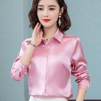 Satin Silk Shirts Women spring Autumn Long Sleeve Elegant Work Wear Tops Korean Fashion White Blue Black Blouse Shirt