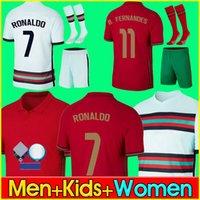 Ronaldo Soccer Jersey 20 21 Bruno B.fernandes Joao Felix Diogo J. Neves André Silva Portugal Pepe Shirts 2021 المنتخب الوطني للرجال + أطفال مجموعات مع الجوارب الزي الرسمي