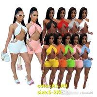 Tasarımcılar Kadın Eşofman Moda Seksi Iki Parçalı Set Şort Yaz Rahat Takım Elbise Katı Renk Ince Kolsuz Spor Takımları