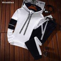 Men's Sweatshirt Sets Pullover+Trousers Tracksuit 2 Piece Pant Plain Streetwear Boy Hoodies Joggers Suit Male Clothing Promotion 211023