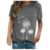 Feitong Lady Dandelion Print Long Sleeve T-shirts Women's Sexy Fashion Pullover Casual Short Sleeved T-shirt Tops