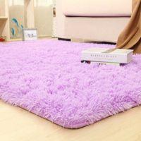 Warmsliving Сплошные коврики Розовый фиолетовый ковер толще ванной комнаты нескользящей коврик для гостиной пушистый мягкий ребенок спальня коврики 210831