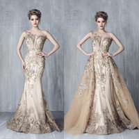 Tony Chaaya 2021 Evening Dresses With Detachable Train Champagne Beads Mermaid Prom Gowns Lace Applique Luxury Party Dress robes