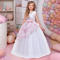 Vintage Flower Girls Dress for Wedding Evening Children Clothes Princess Party Pageant Long Gown Kids Dresses for Girls Costume C0223