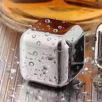 304 Edelstahl Eiswürfel wiederverwendbar Chilling Steine für Whiskywein Halten Sie Ihr Getränk Metall Eis Whisky Rotweinkühlung OOD5572