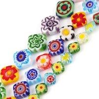 Millefiori Blume Lampwork Glasperlen Rhombus Form Lose Für Schmuckherstellung 15 '' Strang DIY Armband Handwerk Zubehör Sonstiges