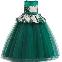 Flickans klänningar 3d blomma tjejer klänning formell lång bröllopsfest prinsessan ärmlös båge tulle barn för hög midja dres