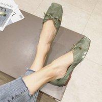 ربيع 2020 جديد أزياء القماش مربع رئيس bowknot الفم الضحلة مريحة مسطحة أسفل لينة أسفل المرأة الأحذية البني الأحذية الأحذية الرسمية للرجال من A3x4 #
