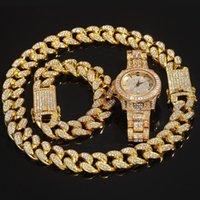 3pce Set Jewelry Men Hip Hop Icedoutbling Chain Necklace Bracelets Watch 20mm Width Cuban Necklaces Charm Jewelrys Gifts
