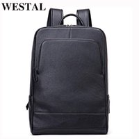 Backpack WESTAL Cow Leather Men School Bag For Teenagers Luxury Designer Large Laptop Backpacks Male Travel Bags