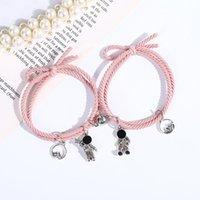 Charm Bracelets 2pcs pair Romantic Lovers Bracelet Magnet Couple Braclet Valentine's Day Gift Cute Astronaut Pendant Brazalete Matching Bras