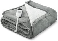 """Flannel Electric Blanket Heated Throw Fast Heating 50"""" x 60"""" with 6 Levels & 8 Hours Auto Off, Machine Washable-Grey"""