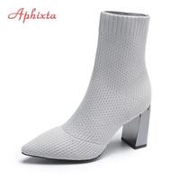 Aphixta Gray Fabrics Sock Boot Shoes Elastic Stretch Knit Bling 8cm Metal Square Heel Ladies Plus Size 41 211022