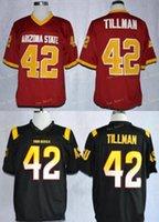 NCAA Arizona State Sun Devils # 42 Pat Tillman Rot 1997 Rosenschale Vintage Jersey Asu Tillman Black Maroon College Football Jerseys S-3XL