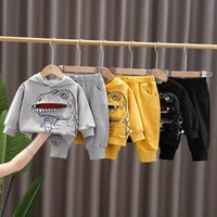 Spring Automne Toddler Tracksuit Baby Vêtements Ensembles Dinosaure Imprimer Enfants Garçons Filles Vêtements Enfants Coton Sweats à capuche Pantalons 2 PCS / Ensembles