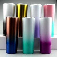 20Oz Kaffee Wasserflasche 20 Unzen Farbwechsel Skinny Tumbler 20z Edelstahl Skinny Cup Vakuum isoliert Trinkkörner mit Deckel Stroh