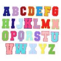 Havlu Nakış Karikatür Renkli Mektuplar Şönil Yama Kumaş Özel Gökkuşağı Renkler Içinde Dikmek Izgara Mektup Sticker Patchwork Sizi Seviyorum Giyim DIY Aksesuarları