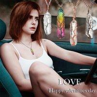 Anhänger Halsketten Mode Regenbogen Natürliche Weiß Kristall Überzogene Sechseck Post Halskette Frauen Metall Schmuck Party Geschenk Y20