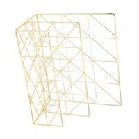 Iron Art Bill Note Storage Basket Book Magazine Organizer Decorative Desktop Sundries Shelf (Golden) Laundry & Organization