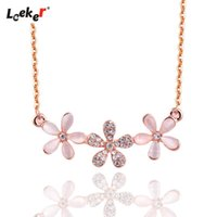 Pendant Necklaces LEEKER Retro Opal Stone Flowers For Women Girls Rose Gold Silver Color Choker Necklace Wedding Jewelry 251 LK4