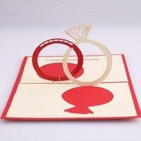 Tarjetas de felicitación del día del día del día de los amantes del día de San Valentín Anillo de diamantes de San Valentín Invitación a mano Hecho a mano Hecho a mano Esculturas de papel en 3D Amor conocido