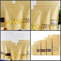 Sacchetti di barriera dell'alimentazione Borse da imballaggio Confezione Sigillante Brown Brown Carta Kraft DoyPack Sacchetto con finestra trasparente 192 S2