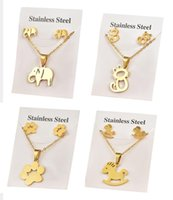 Earrings & Necklace Dowaka Cute Elephant And Stud Sets Stainless Steel Cat Pendant Gold Color Chain Jewelry Accessories Trendy