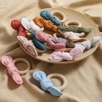 아기 Teether 아기가 젖니 가이 장난감 나무 반지 토끼 귀 teethers 간호 훈련 만화 토끼 장난감 아기 제품 nhf6717