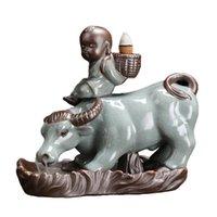 Lâmpadas de fragrância cone queimador titular cachoeira backflow cerâmico incenso artesanato presentes presente vaca boy forma artesanato decoração de mesa homen deco