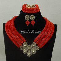 Earrings & Necklace Wedding Jewelry Sets Red Nigerian Costume African Crystal Bridal Beads Set ALJ342