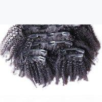Clip in estensioni dei capelli umani 100g colore naturale Afro Kinky clip in 8pcs African American clip nelle estensioni dei capelli umani