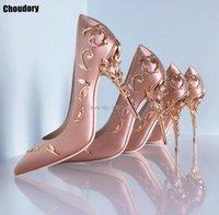 Choudory Bombas de Alta Qualidade Moda Metálica Stiletto Designer Pointed Toe Festa de Luxo Sapatos de Casamento Mulher Saltos Vestido