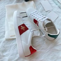 Sneakers de luxe Sneakers Hommes Femmes Casual Chaussures Casual Plateforme Plateforme Snake Top Quality Chaussures Cuir Ace Ace Bee Broderie Stripes Chaussures de sport