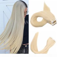 100g 40pcs Silk Straight Tape In Human Hair Extensions 14 16 18 20 22 24 613#Russian Blonde Color